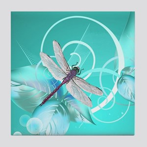 Cute Dragonfly Aqua Abstract Floral S Tile Coaster